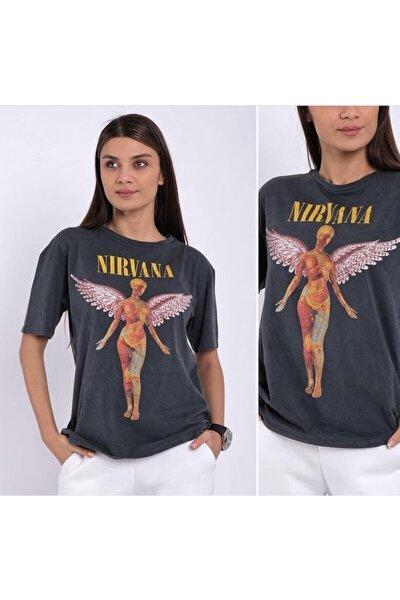 Kadın Nirvana Baskılı Tişört