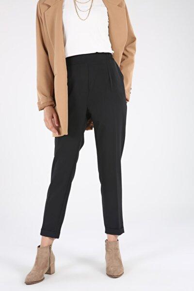 Siyah Beli Lastikli Cepli Pantolon
