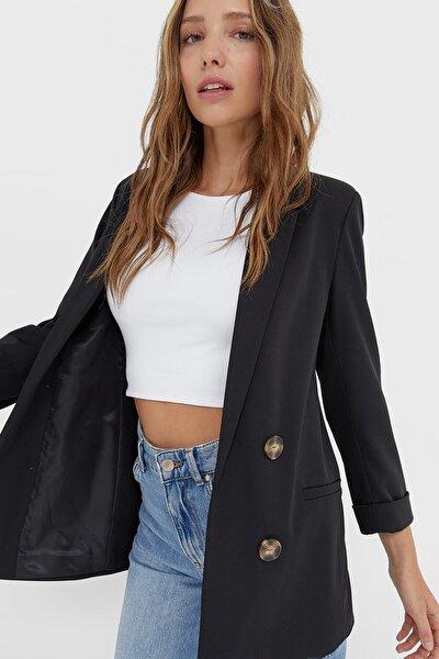 Kadın Siyah Kruvaze Kesim Blazer Ceket