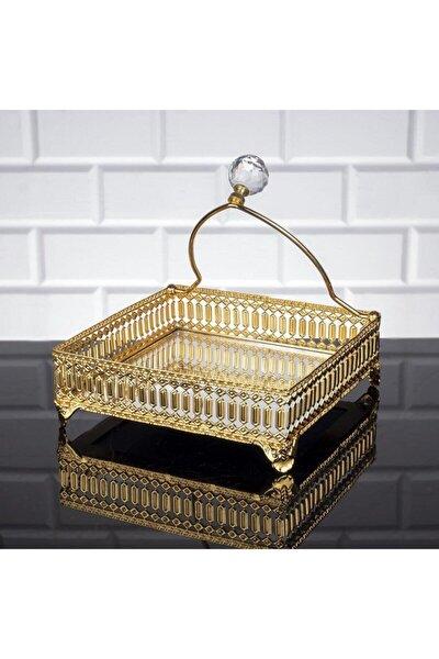 Inci Kare Peçetelik Gold Renk Peçete Uçurtmaz