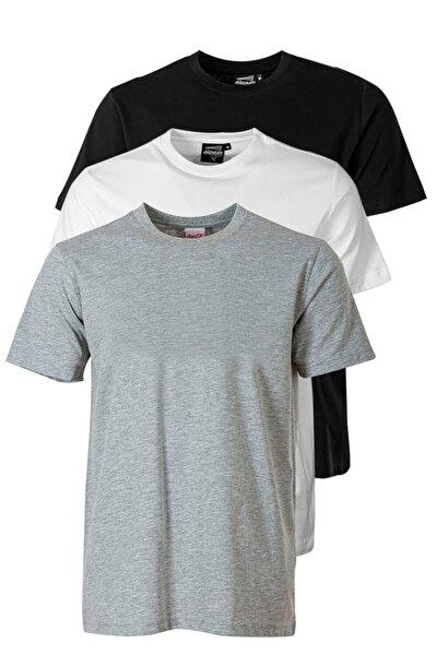 Erkek Gri Sıfır Yaka T-shirt 3'lü Paket