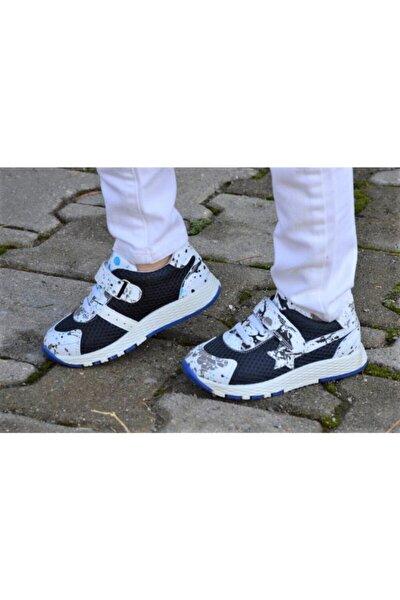 Beyaz Lacivert Unisex Çocuk Spor Ayakkabı
