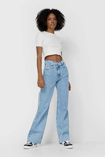 Kadın Açık Mavi Asimetrik Belli Straight Fit Jean
