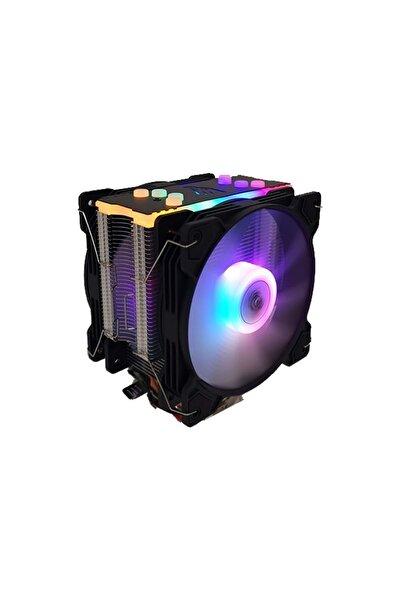 T4 Cpu Soğutucu Fan Rgb Lıght Board Çift Fan