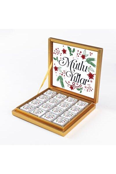 Yılbaşı Hediyesi Çikolatası 32 Madlen Çikolata Gold Kutu