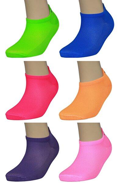 6'lı Kadın Neon Spor Çorabı - Orjinal Microfibra