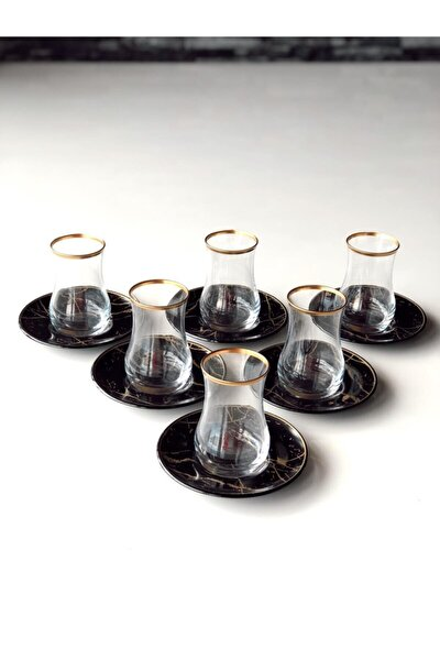 Siyah Mermer 12 Prç Çay Seti