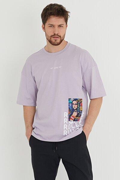 Lila Baskılı Salaş T-shirt 1kxe1-44636-26