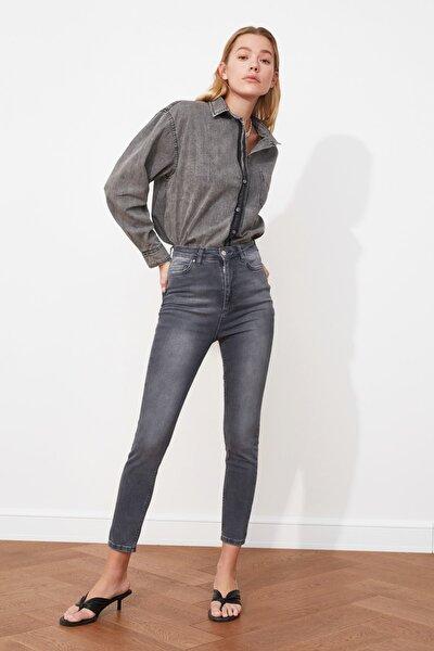 Gri Yüksek Bel Skinny Jeans TWOSS21JE0011