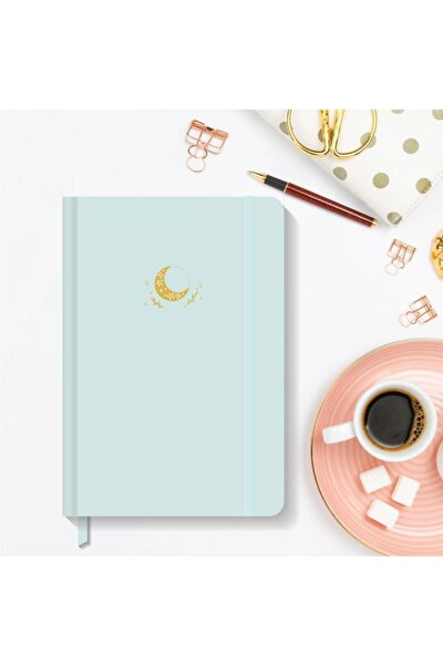 Notebook Lastikli Sert Kapak Noktalı Defter 13x21 Cm Hardcover Notebook Turquoise Color