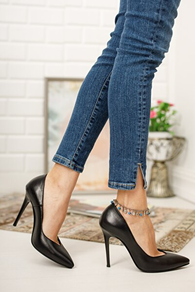 Hakiki Deri Siyah Kadın Topuklu Deri Ayakkabı Shn-1963-1