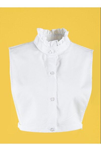 Kadın Beyaz Fırfır Yakası Gömlek