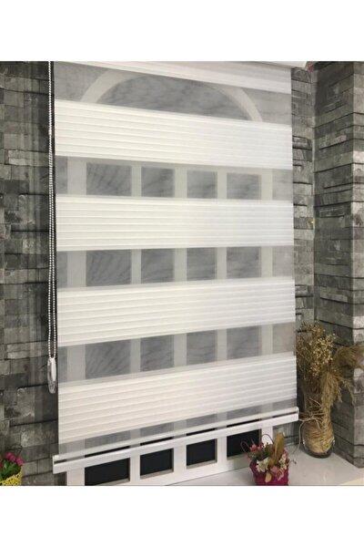 Pliseli Stor Zebra Perde Ekru + Etek Dilim Stb481