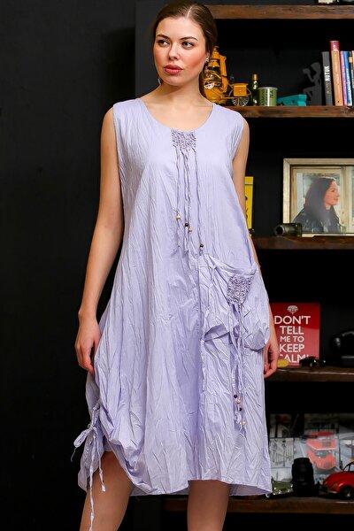 Kadın Lila Ahşap Boncuklu Biye Detaylı Dev Cepli Salaş Astarlı Dokuma Elbise M10160000EL95751