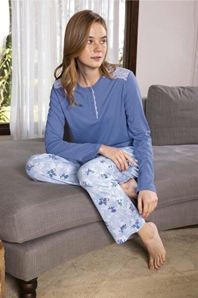 Kadın Modal Altı Desenli Üstü Düz Pijama Takımı