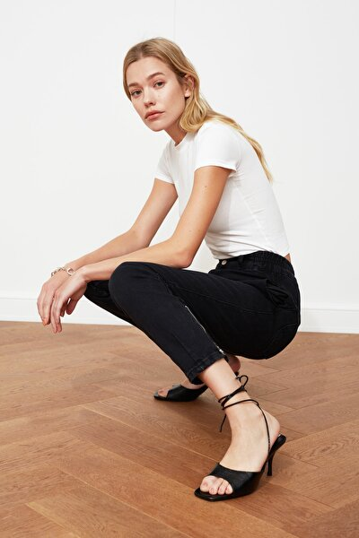 Siyah Çift Düğmeli Beli Lastikli Süper Yüksek Bel Mom Jeans TWOAW21JE0552