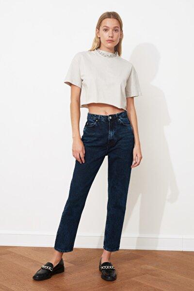 Gece Mavisi Yıkamalı Yüksek Bel Mom Jeans TWOSS20JE0099