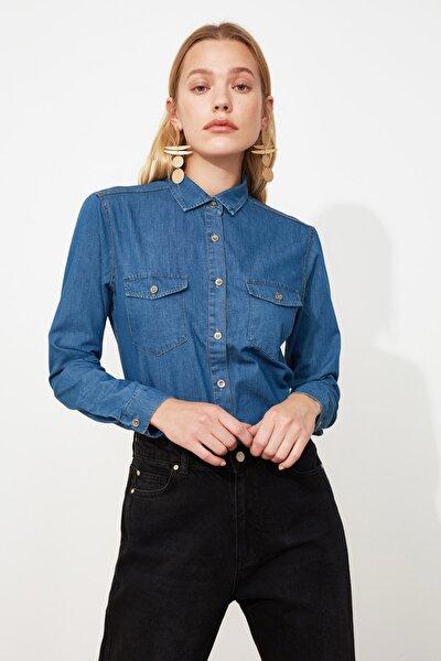 Mavi Cep Detaylı Denim Gömlek TWOSS20GO0326