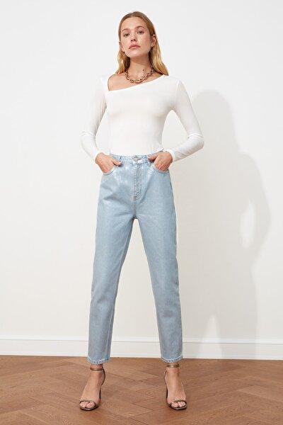 Mavi Varak Baskılı Yüksek Bel Mom Jeans TWOSS20JE0066