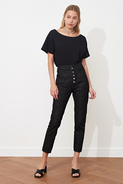 Siyah Önden Düğmeli Süper Yüksek Bel Mom Jeans TWOAW20JE0028