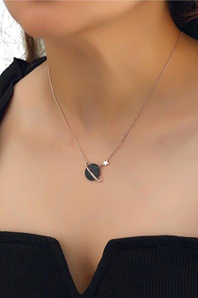 Kadın 925 Ayar Gümüş Zirkon Siyah Taşlı Gezegen Kolye