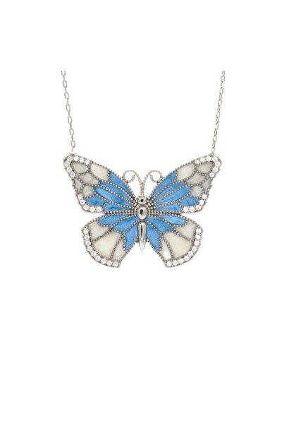 Kadın Gümüş Mineli Kelebek Kolye