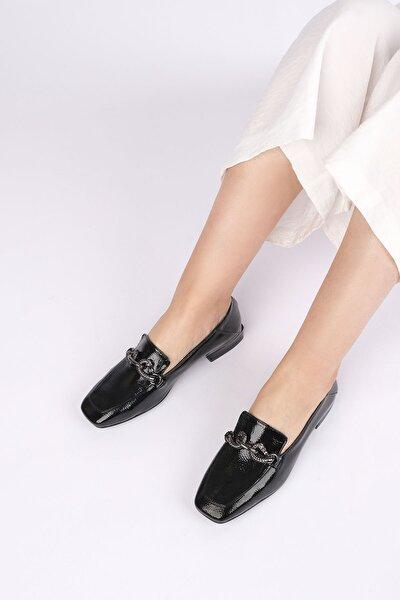 Alva Kadın Günlük Loafer Ayakkabı Siyah Rugan