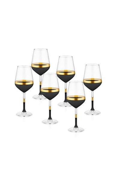 Siyah & Gold Glow Şarap Kadehi 6'lı Set