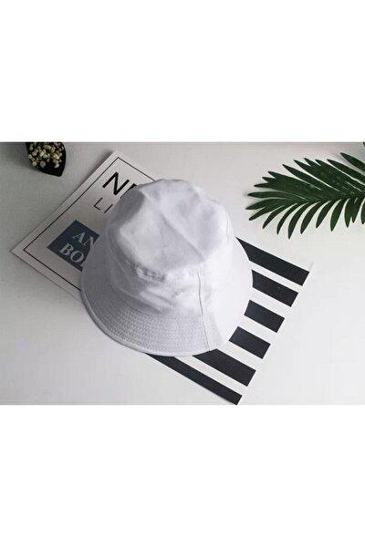Unisex Beyaz Bucket Şapka