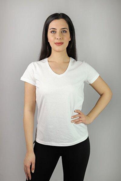 V Yaka %100 Pamuk T-shirt