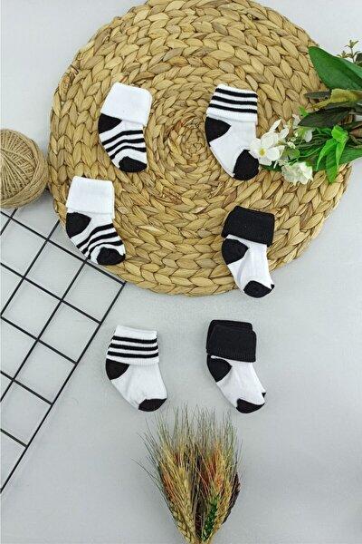 6 Adet Siyah Beyaz Beşiktaş Bebek Çorabı