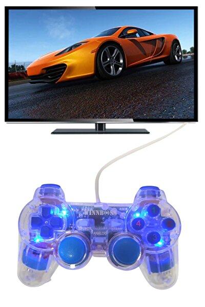 Şeffaf Usb'li Titreşimli Kablolu Gamepad Bilgisayar Pc Joystik Analog Oyun Konsolu Kolu