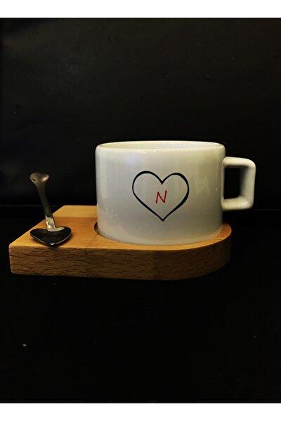 N Harfli Kalp Baskılı Nescafe/Espresso Fincanı