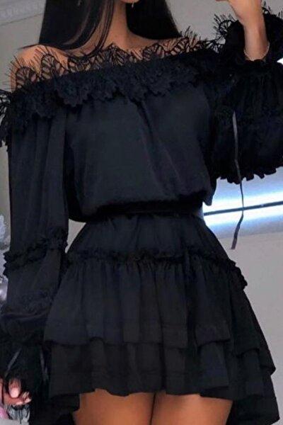 Kadın Siyah Mini Fırfırlı Dantel Detaylı Elbise