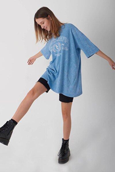Baskılı Oversize T-shirt P1049 - L5