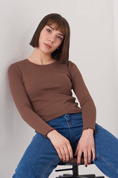 Kadın Kahve Basic Bluz P1084 - Dk2 ADX-0000023311