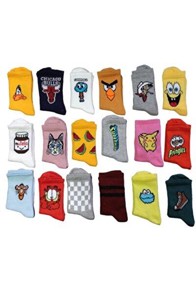 Unisex Renkli Kolej 10 Adet Farklı Desen Renk Çorap