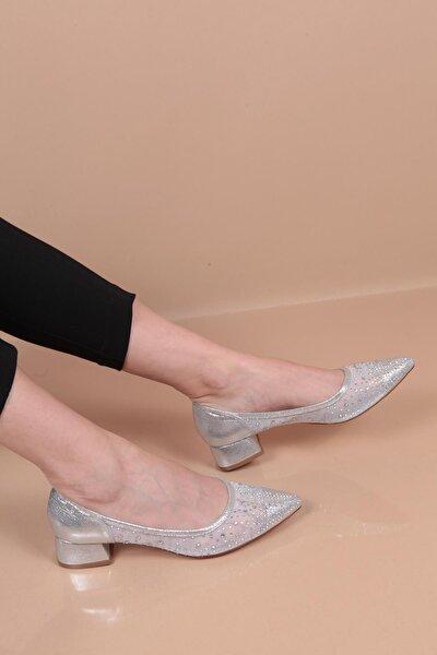 Kadın Topuklu Taşlı Fileli Ayakkabı