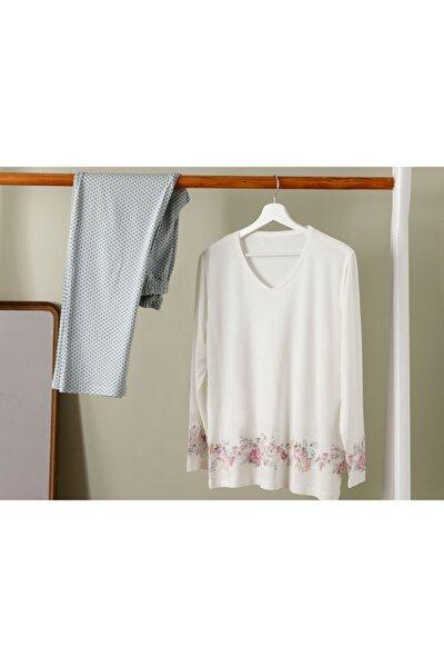 Kadın Mint Beyaz Natural Flower Viskon Pıjama Takımı L-xl