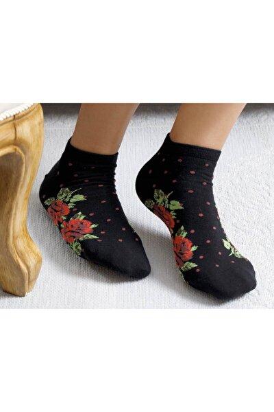 Kadın Siyah Flower Dots Pamuk Çorap