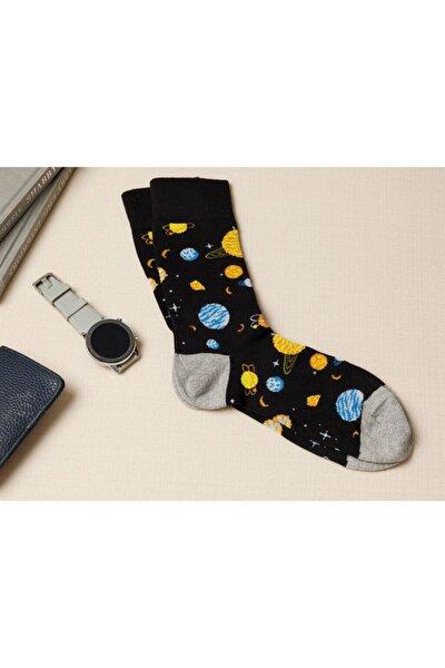 Erkek Siyah New Planet Pamuk Çorap