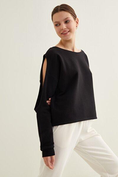 Kadın Siyah Kol Dekolteli Sweatshirt