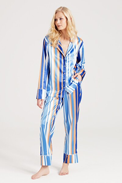 Z A U Saten Çizgili Pijama Takımı