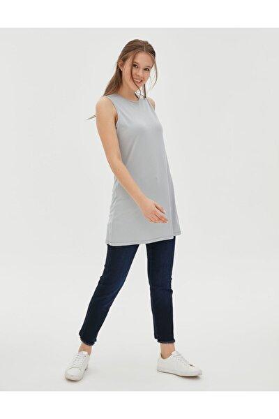 Basic Kolsuz Penye Bluz Gri Sz 10505