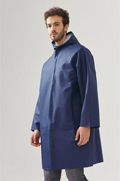 Erkek Lacivert Kapüşonlu Yaka Yağmurluk A02y6200