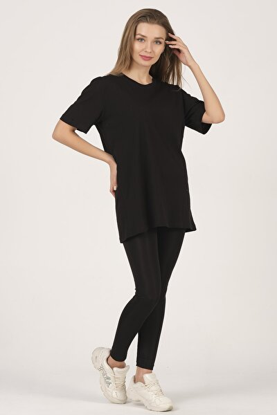 Kadın Siyah Kısa Kollu  Basic T-shirt
