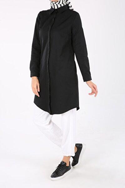 Siyah Gizli Patlı Düğmeli Gömlek Tunik