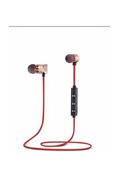 Kablosuz Mıknatıslı Bluetooth Kulaklık-kablosuz Sporcu Kulaklığı Sport Headset Kırmızı