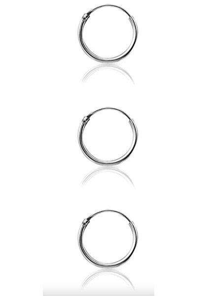 Kadın Tek Kulak 925 Ayar Gümüş Üçü Bir Arada Üçlü Halka Küpe Seti