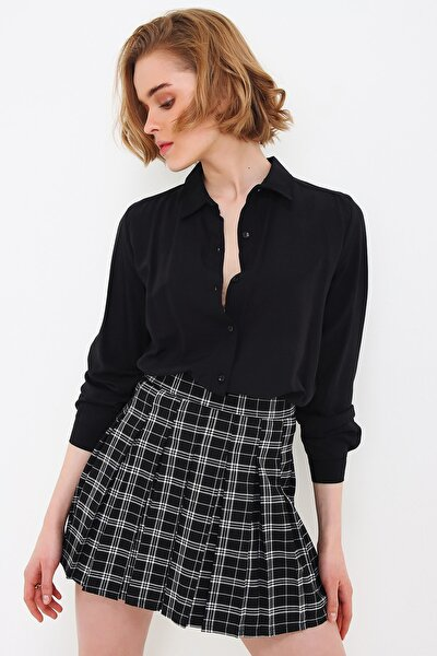 Kadın Siyah Basic Viscon Gömlek ALC-X5442